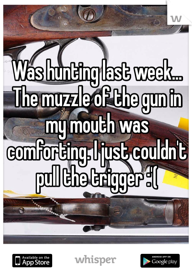 Was hunting last week... The muzzle of the gun in my mouth was comforting. I just couldn't pull the trigger :'(