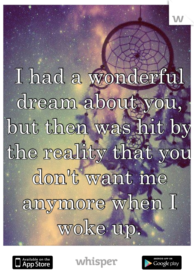 I had a wonderful dream about you, but then was hit by the reality that you don't want me anymore when I woke up.