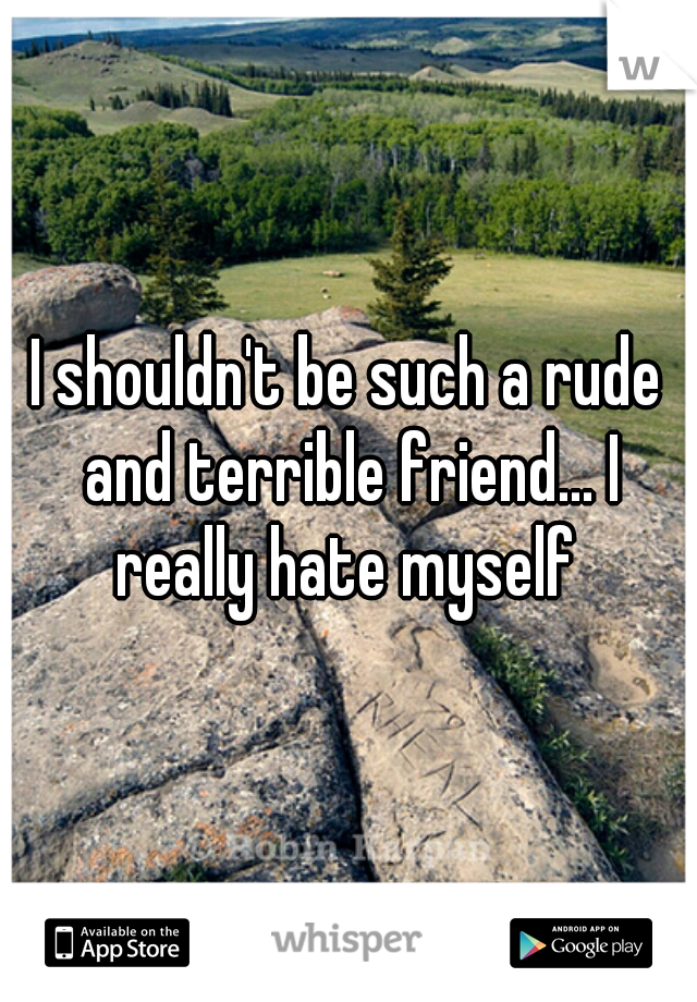 I shouldn't be such a rude and terrible friend... I really hate myself