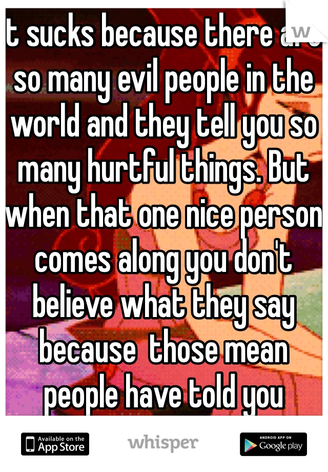 It sucks because there are so many evil people in the world and they tell you so many hurtful things. But when that one nice person comes along you don't believe what they say because  those mean people have told you different.
