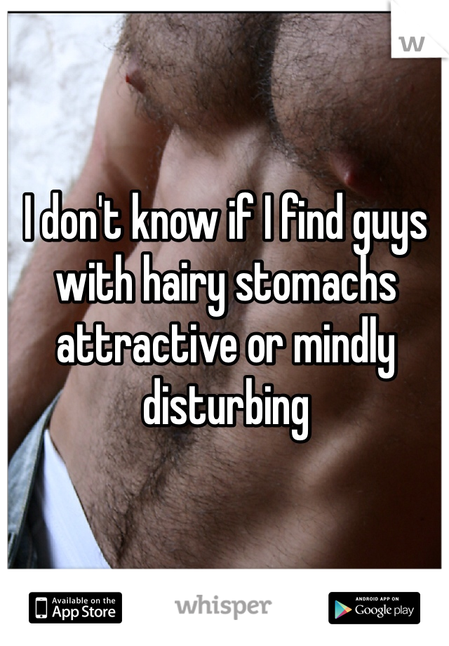 I don't know if I find guys with hairy stomachs attractive or mindly disturbing
