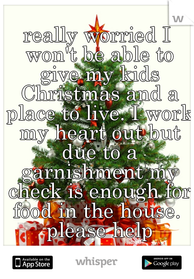 really worried I won't be able to give my kids Christmas and a place to live. I work my heart out but due to a garnishment my check is enough for food in the house.  please help