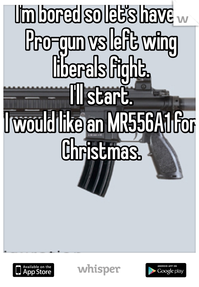 I'm bored so let's have a Pro-gun vs left wing liberals fight.  I'll start. I would like an MR556A1 for Christmas.