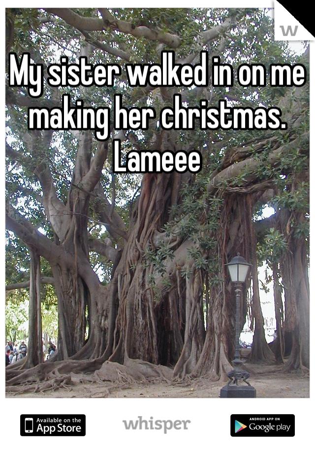 My sister walked in on me making her christmas. Lameee
