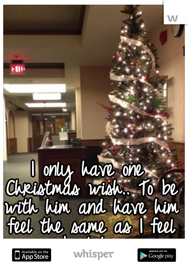 I only have one Christmas wish.. To be with him and have him feel the same as I feel about him.
