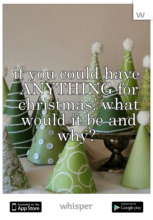 if you could have ANYTHING for christmas. what would it be and why?