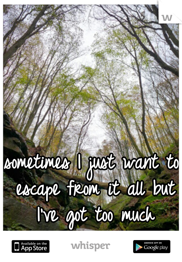 sometimes I just want to escape from it all but I've got too much relying on me
