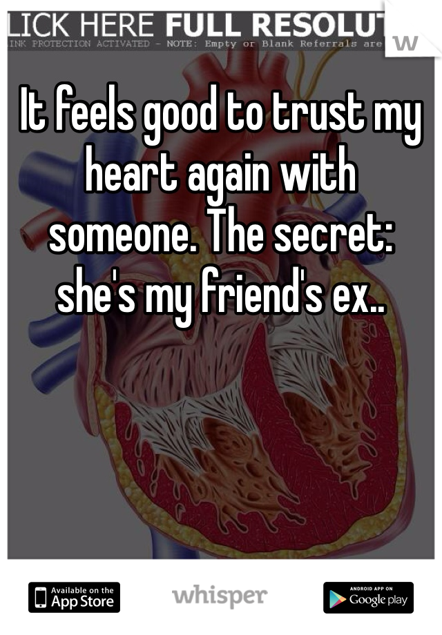 It feels good to trust my heart again with someone. The secret: she's my friend's ex..