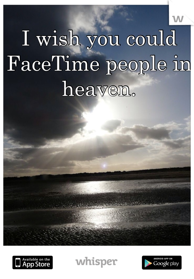 I wish you could FaceTime people in heaven.