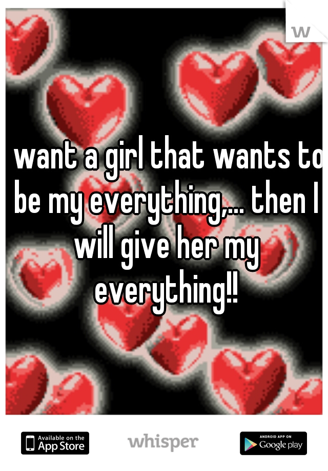 I want a girl that wants to be my everything,... then I will give her my everything!!