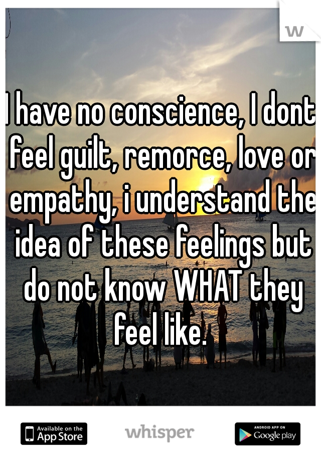 I have no conscience, I dont feel guilt, remorce, love or empathy, i understand the idea of these feelings but do not know WHAT they feel like.