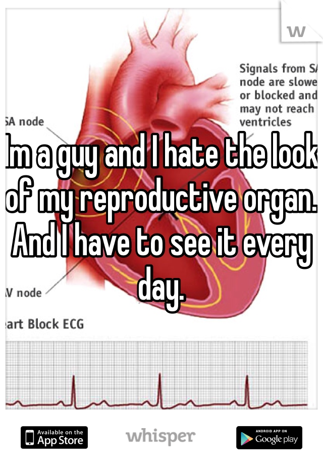 Im a guy and I hate the look of my reproductive organ. And I have to see it every day.