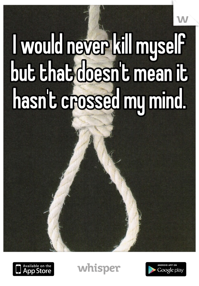 I would never kill myself but that doesn't mean it hasn't crossed my mind.