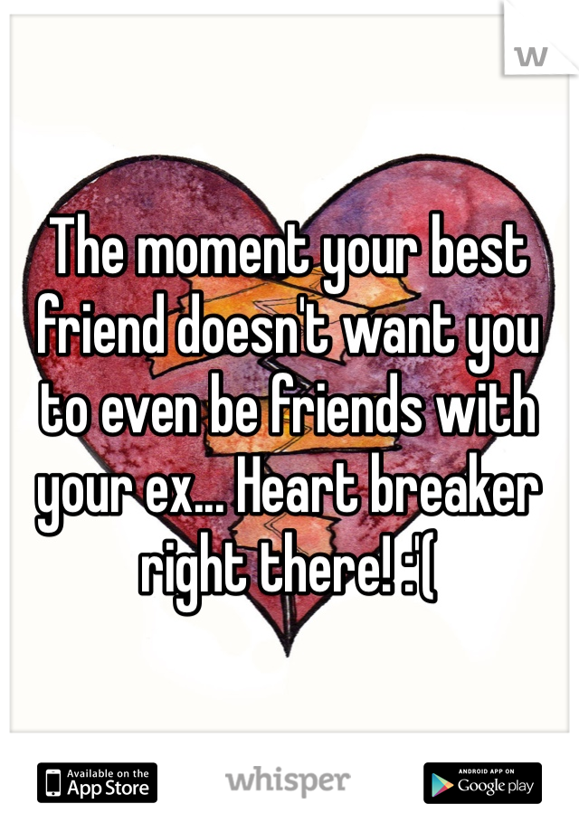 The moment your best friend doesn't want you to even be friends with your ex... Heart breaker right there! :'(