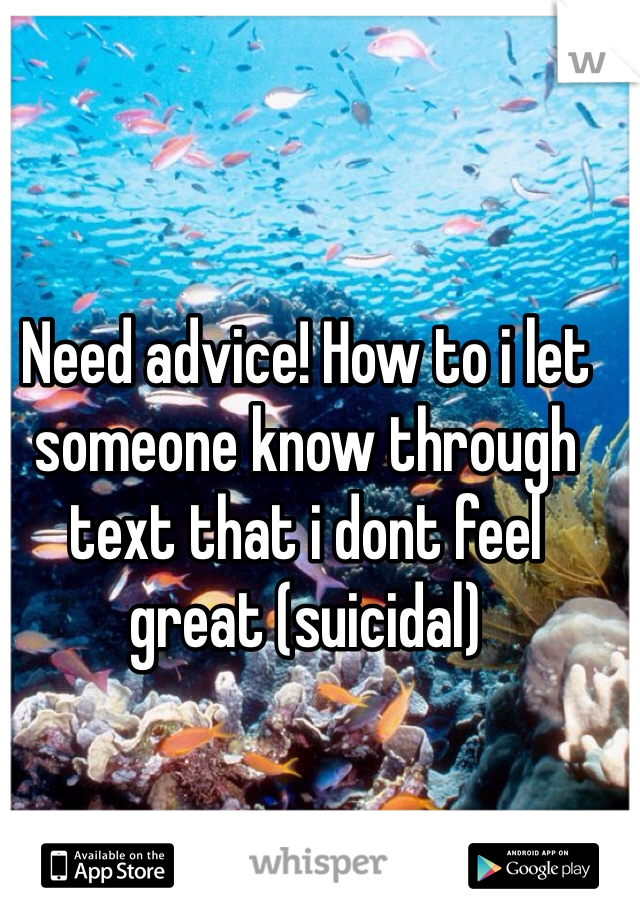 Need advice! How to i let someone know through text that i dont feel great (suicidal)