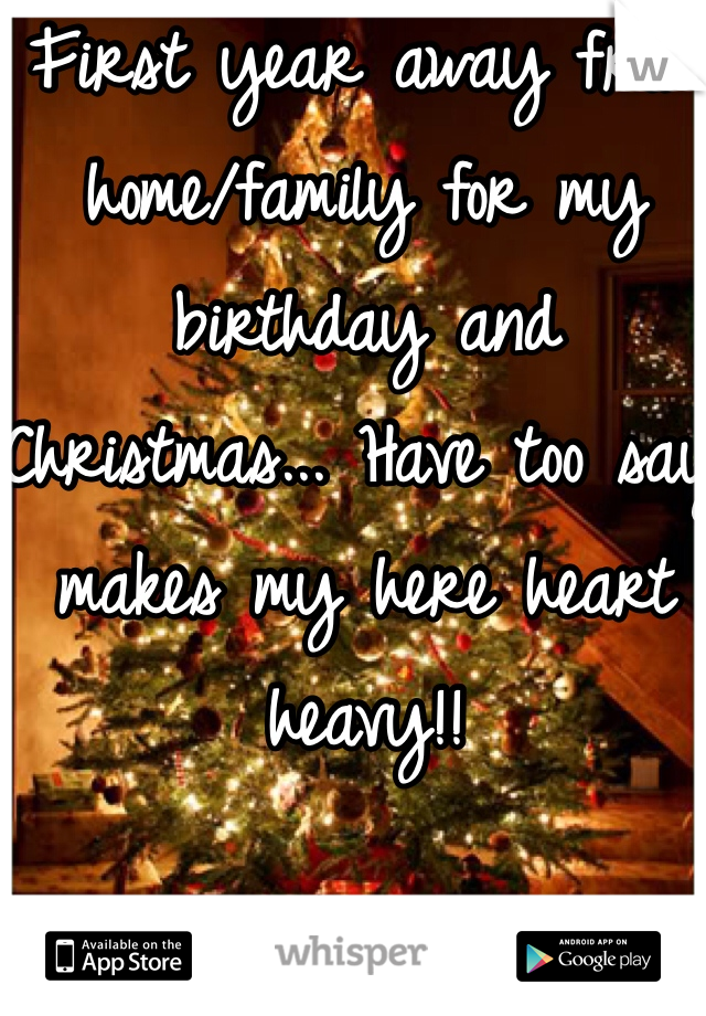 First year away from home/family for my birthday and Christmas... Have too say makes my here heart heavy!!