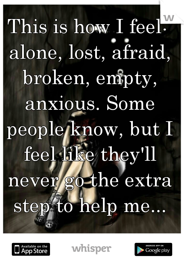 This is how I feel: alone, lost, afraid, broken, empty, anxious. Some people know, but I feel like they'll never go the extra step to help me...
