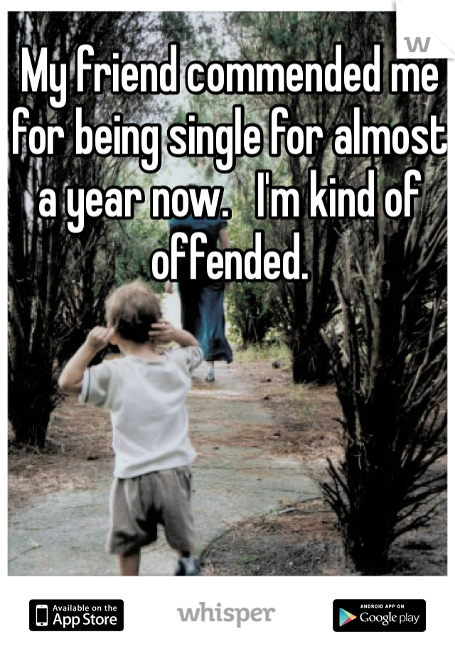 My friend commended me for being single for almost a year now.   I'm kind of offended.