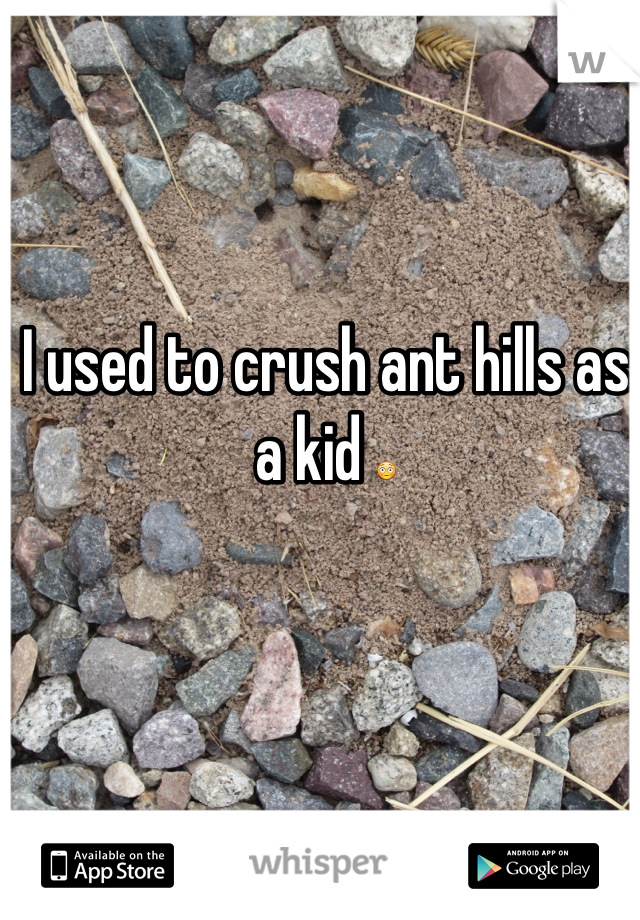 I used to crush ant hills as a kid 😳