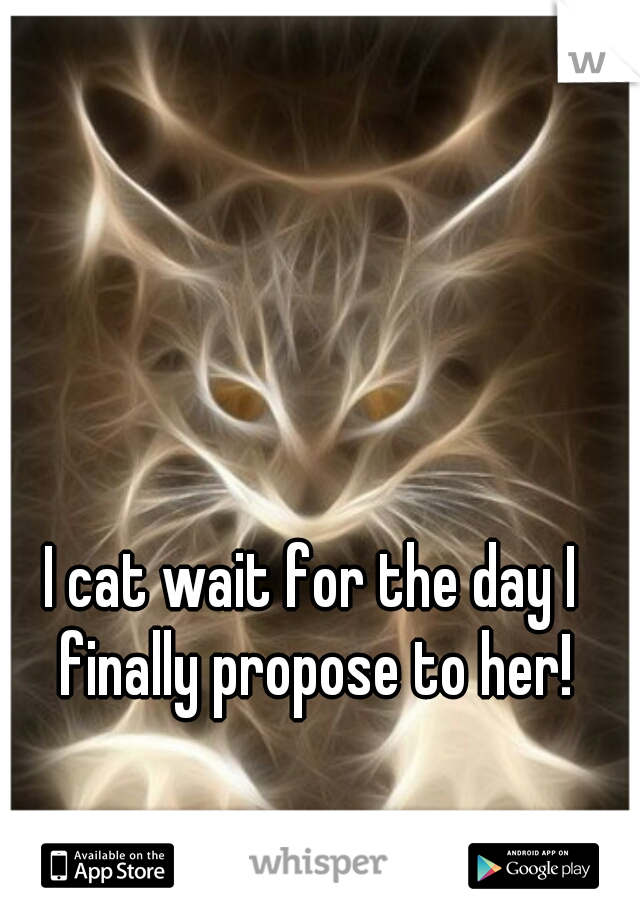 I cat wait for the day I finally propose to her!