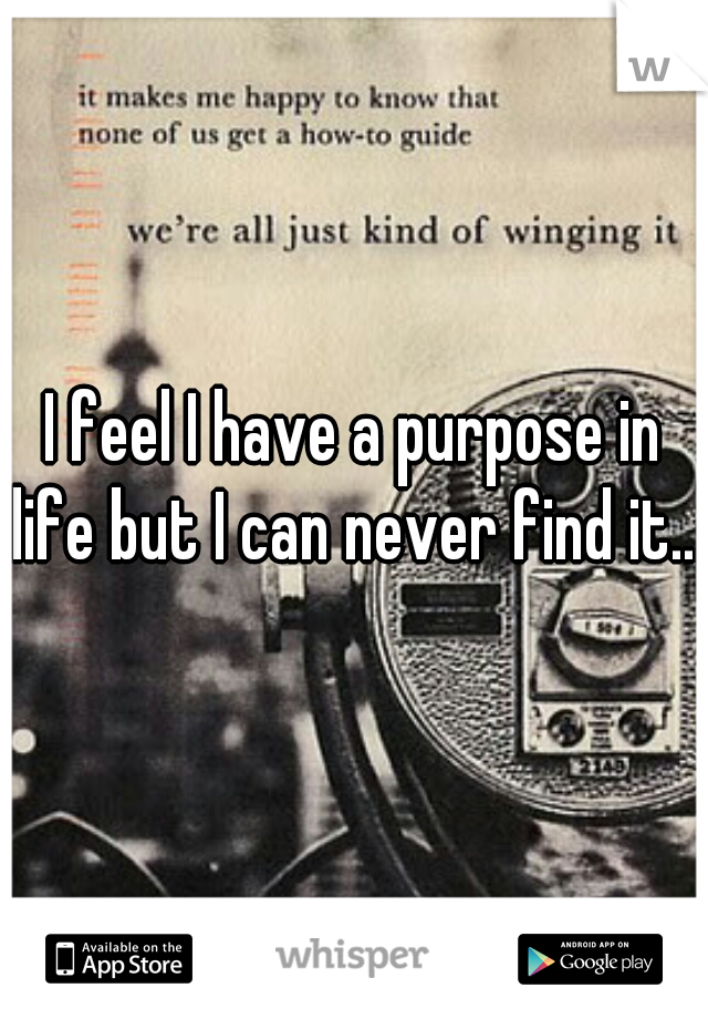 I feel I have a purpose in life but I can never find it....
