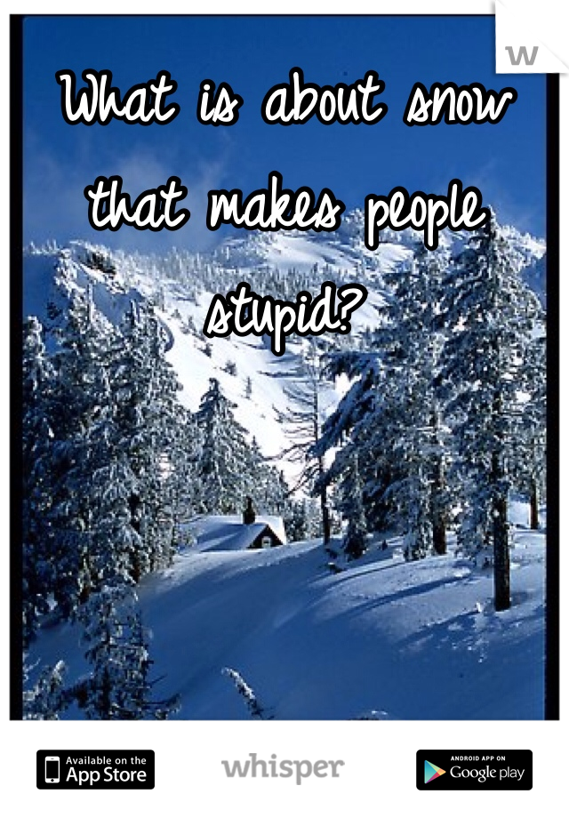 What is about snow that makes people stupid?