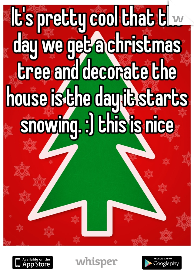It's pretty cool that the day we get a christmas tree and decorate the house is the day it starts snowing. :) this is nice