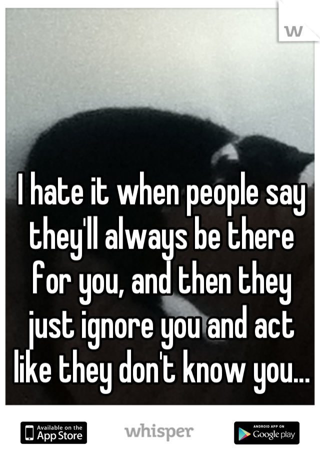 I hate it when people say they'll always be there for you, and then they just ignore you and act like they don't know you...