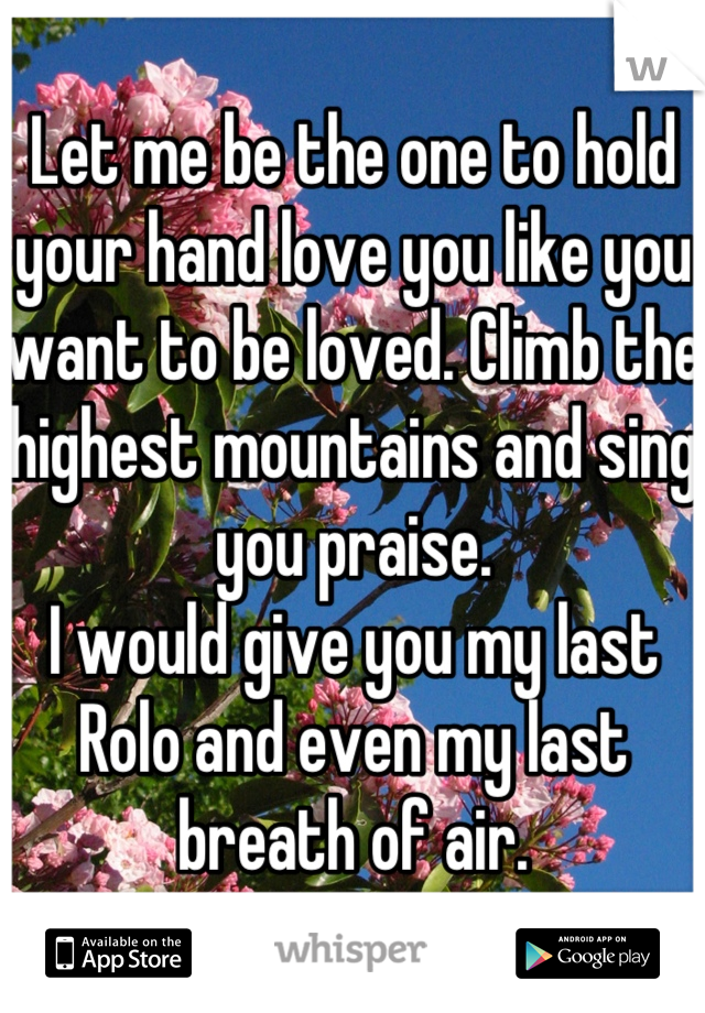 Let me be the one to hold your hand love you like you want to be loved. Climb the highest mountains and sing you praise. I would give you my last Rolo and even my last breath of air.