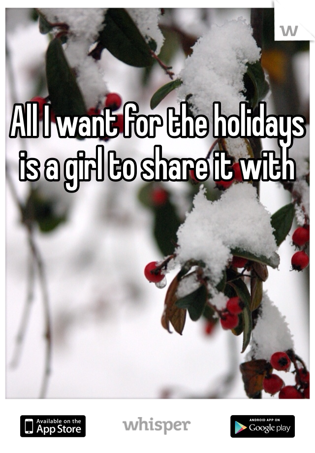 All I want for the holidays is a girl to share it with