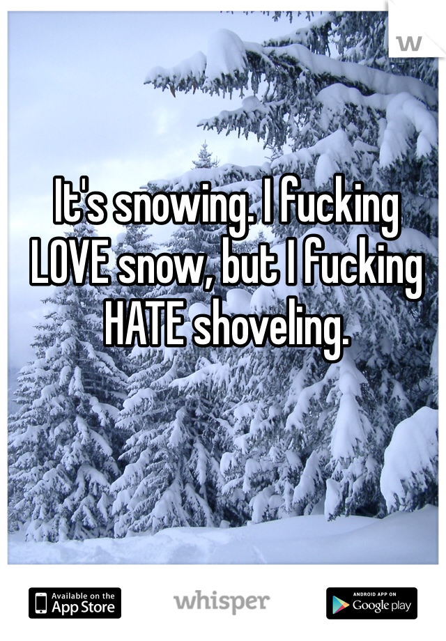 It's snowing. I fucking LOVE snow, but I fucking HATE shoveling.