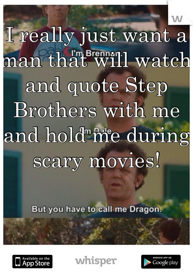 I really just want a man that will watch and quote Step Brothers with me and hold me during scary movies!