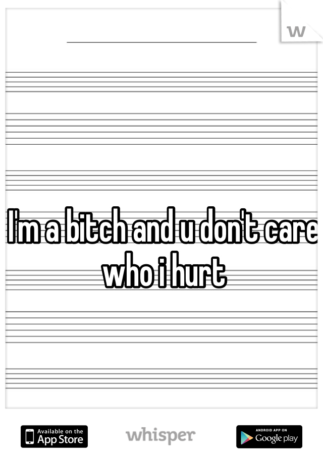 I'm a bitch and u don't care who i hurt