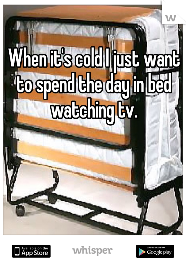 When it's cold I just want to spend the day in bed watching tv.