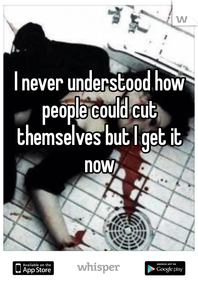 I never understood how people could cut themselves but I get it now
