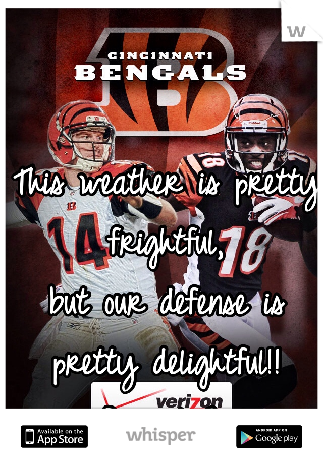 This weather is pretty frightful,  but our defense is pretty delightful!! #BengalsGirl