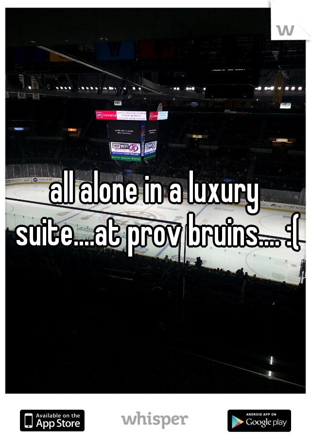 all alone in a luxury suite....at prov bruins.... :(