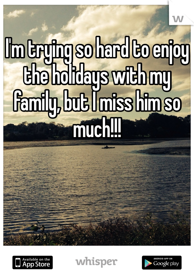 I'm trying so hard to enjoy the holidays with my family, but I miss him so much!!!