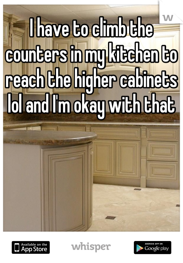 I have to climb the counters in my kitchen to reach the higher cabinets lol and I'm okay with that