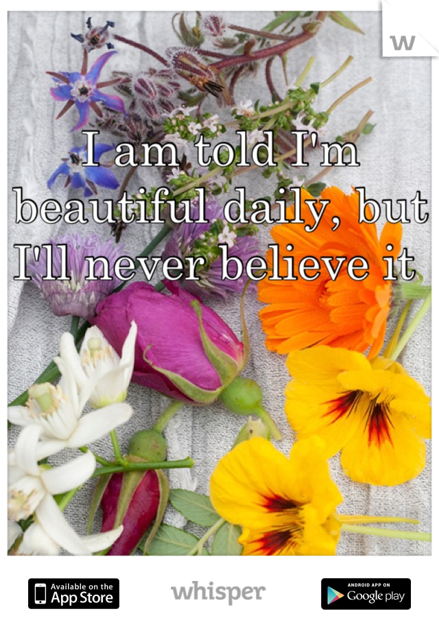 I am told I'm beautiful daily, but I'll never believe it
