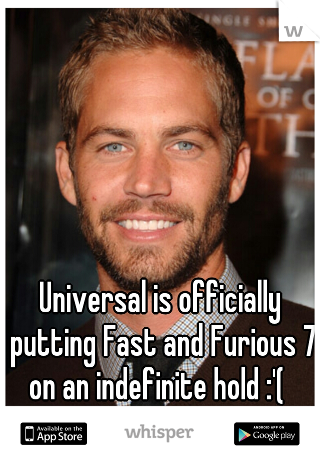 Universal is officially putting Fast and Furious 7 on an indefinite hold :'(