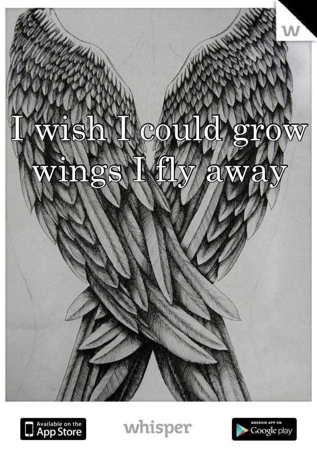 I wish I could grow wings I fly away