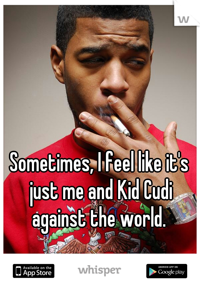 Sometimes, I feel like it's just me and Kid Cudi against the world.