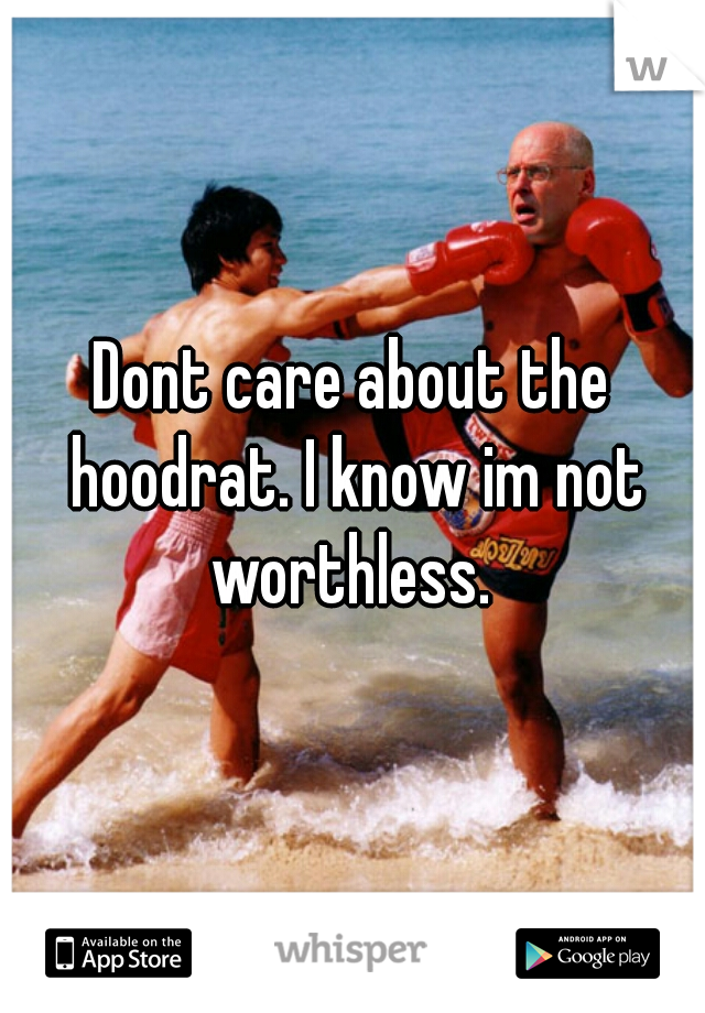 Dont care about the hoodrat. I know im not worthless.