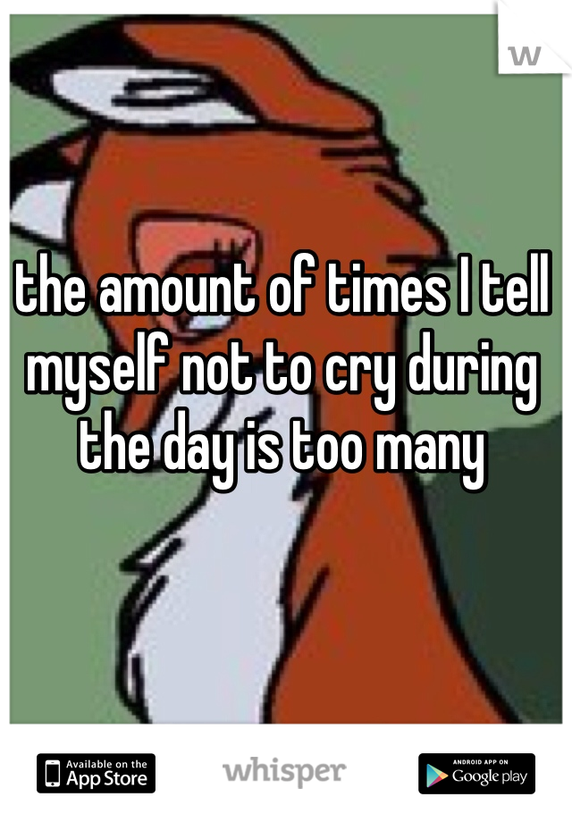 the amount of times I tell myself not to cry during the day is too many