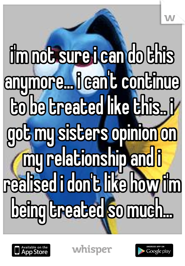 i'm not sure i can do this anymore... i can't continue to be treated like this.. i got my sisters opinion on my relationship and i realised i don't like how i'm being treated so much...