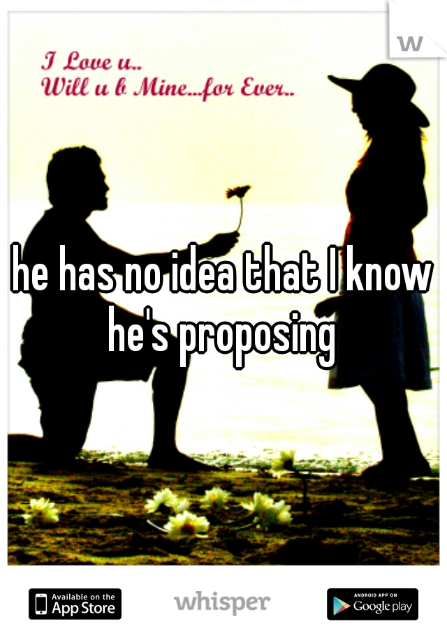 he has no idea that I know he's proposing