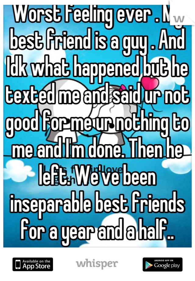 Worst feeling ever . My best friend is a guy . And Idk what happened but he texted me and said ur not good for me ur nothing to me and I'm done. Then he left. We've been inseparable best friends for a year and a half..
