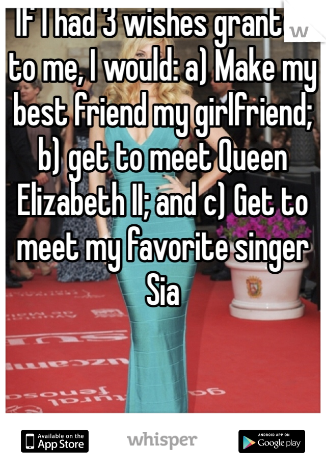 If I had 3 wishes granted to me, I would: a) Make my best friend my girlfriend; b) get to meet Queen Elizabeth II; and c) Get to meet my favorite singer Sia