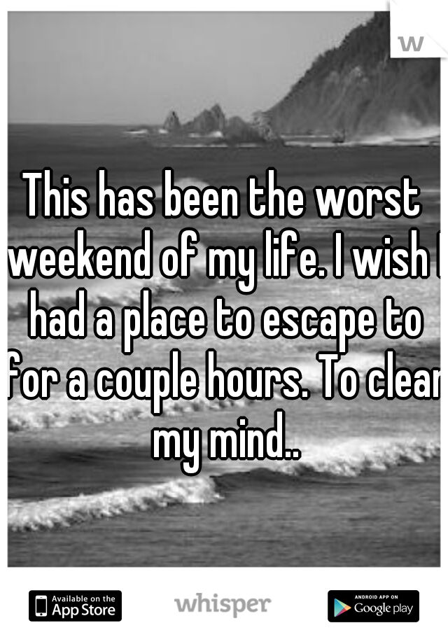 This has been the worst weekend of my life. I wish I had a place to escape to for a couple hours. To clear my mind..